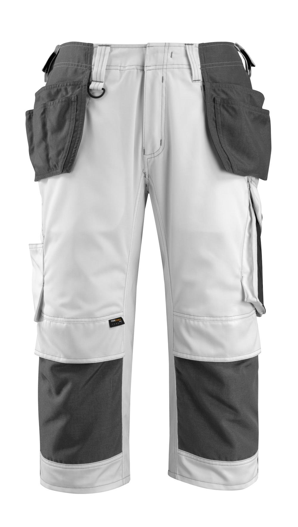 14349-442-0618 Dreiviertel-Hose mit Knie- und Hängetaschen - Weiß/Dunkelanthrazit