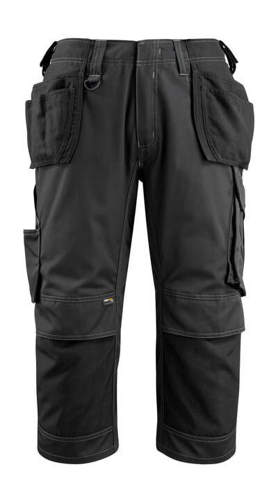 14449-442-09 Dreiviertel-Hose mit Knie- und Hängetaschen - Schwarz