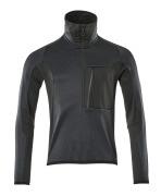 17003-316-01009 Fleecepullover mit kurzer Reißverschluss - Schwarzblau/Schwarz