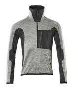17003-316-0809 Fleecepullover - Grau abgestuft/Schwarz/Rot*