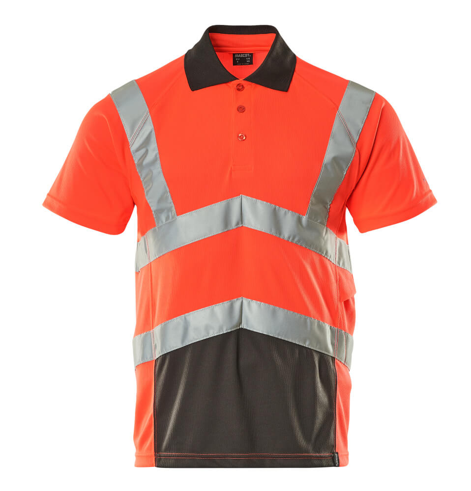50117-949-A49 Polo-Shirt - hi-vis Rot/Dunkelanthrazit