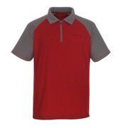 50302-260-02888 Polo-Shirt mit Brusttasche - Rot/Anthrazit